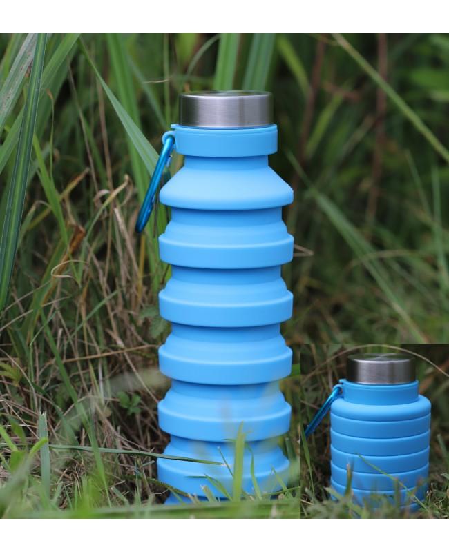 Gourde magnétique pliable bleue