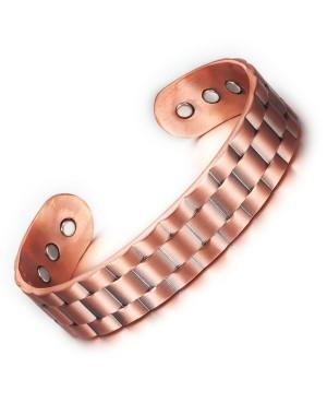 Bracelet magnétique en cuivre largeur 16 mm et motif quadrillage damier - Gentiane