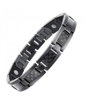 Bracelet léger magnétique en titane et carbone - Lobelia