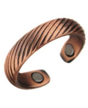 Bague magnétique en cuivre strié