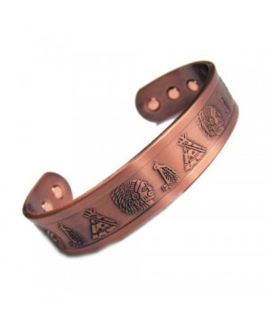 Bracelet magnétique avec aimants Néodyme cuivre style Amérindien