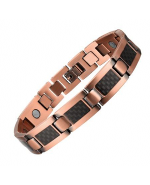 Bracelet magnétique en carbone et cuivre contre l'arthrite ou l'inflammation - Athémis