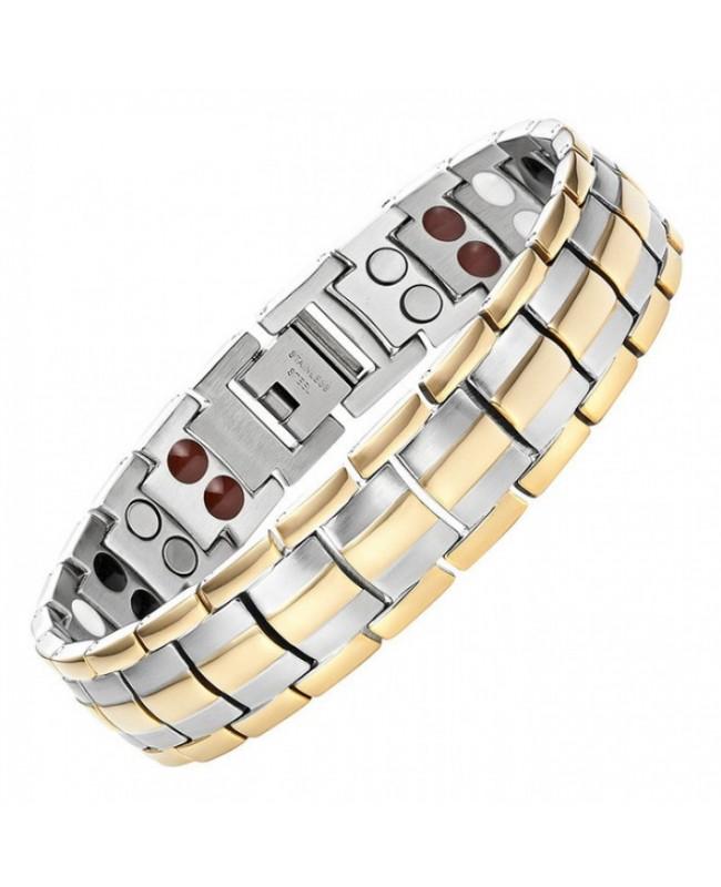 Bracelet magnétique puissant et bio-éléments ioniques en titane - Aureum