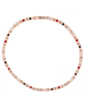 Collier en acier inoxydable magnétique rosé avec 8 aimants et bio éléments - Bulla