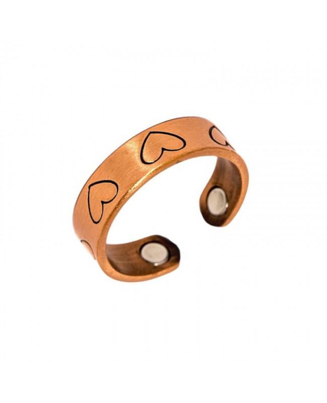 Bague magnétique en cuivre avec dessin cœur