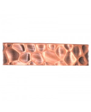 Bracelet large en cuivre pur massif martelé - Savane