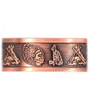 Bracelet magnétique en cuivre massif aux vertus antidouleurs - Indien