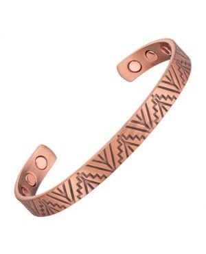 Bracelet cuivre massif avec 6 aimants avec lignes en escaliers - Baobab