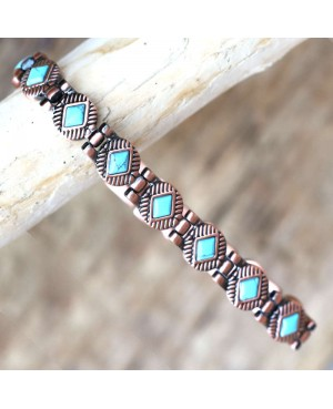 Bracelet cuivre magnétique avec de puissants aimants et turquoise - Cléopatre