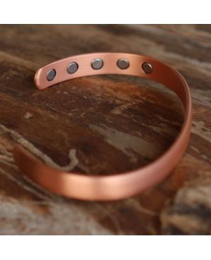 Bracelet en cuivre lisse et brillant magnétique avec 10 aimants Néodyne - Kyrielle
