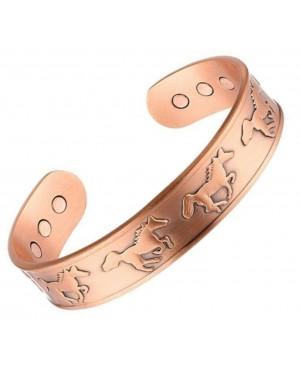 Bracelet en cuivre massif pur avec 6 aimants et motif cheval au galop