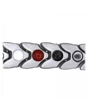 Bracelet magnétique avec bio éléments acier - Lilas