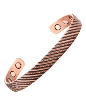 Bracelet cuivre confort articulaire avec fines lignes en spirale - Eglantine
