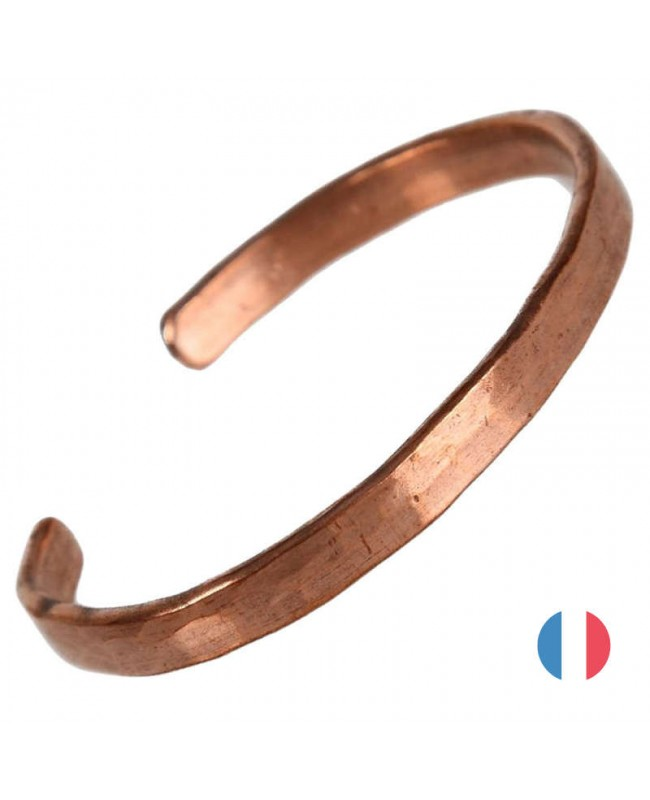 Bracelet cuivre pur massif - Silène martelé à la main en France