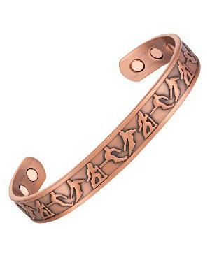 Bracelet magnétique cuivre - Skiing avec motif skieurs