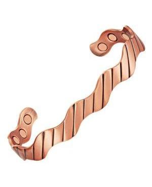 Bracelet en cuivre massif magnétique 6 aimants néodime - effet ondulé avec fines lignes - Zénith
