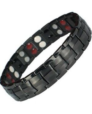 Bracelet avec aimants et bio-éléments en titane noir ioniques - Viribus