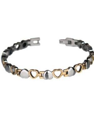Bracelet magnétique acier inoxydable et 11 aimants Néodymes - Cœur